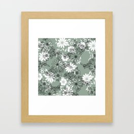 Vintage green black white hand drawn floral Framed Art Print