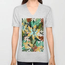 Multiple Color Butterfly Floral Pattern Unisex V-Neck