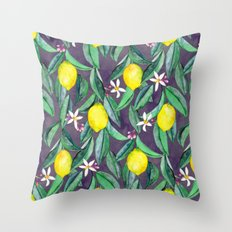 When Life Gives You Lemons - grey purple Throw Pillow