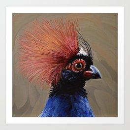 Crested Wood Partridge Portrait Art Print