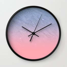 Modern blush coral pink pastel blue elegant faux glitter Wall Clock