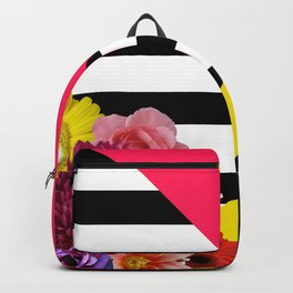 Geometric Shapes With Flowers & Stripes Backpack