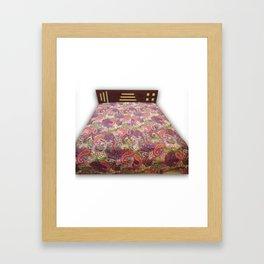 Indian Paisley Kantha Bedcover Handmade Paisley Blanket  Framed Art Print