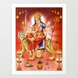 Goddess Durga Indian Art Yoga Lion Art Print