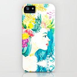 Aqua Watercolor Portrait iPhone Case