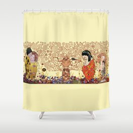 Kokeshis Klimt Shower Curtain