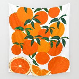 Orange Harvest - White Wall Tapestry