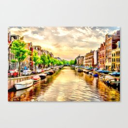 Beautiful sunset in Amsterdam, The Netherlands Canvas Print