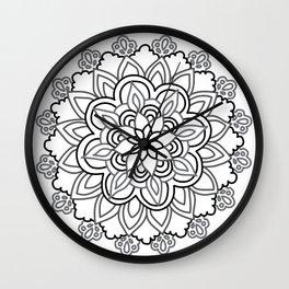 Baesic Handdrawn Black & White Mandala Wall Clock