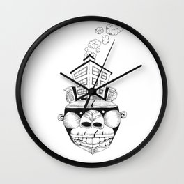 Homo Erectus in Modern World Wall Clock