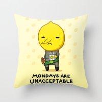 lemongrab Throw Pillows featuring Yay Monday, Lemongrab by fablefire