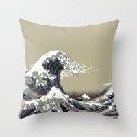 hokusai Throw Pillows featuring Hokusai by noirlac