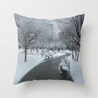 pittsburgh Throw Pillows featuring PITTSBURGH PARK by Stephanie Bosworth