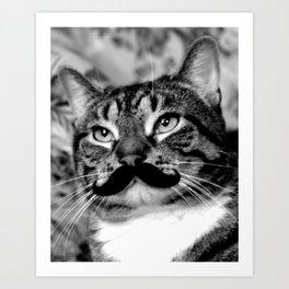 He's a Cat with a Mustache Art Print