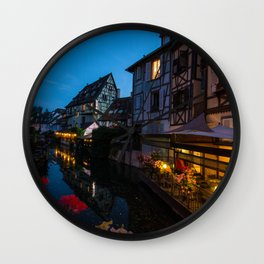 Dinner on the Lauch River - Colmar, France Wall Clock