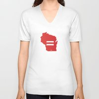 wisconsin V-neck T-shirts featuring Wisconsin Love by Tank Top Sunday