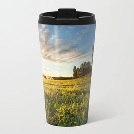 Serene landscape photo of meadow at sunrise Travel Mug