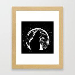 Cat Moon Silhouette Framed Art Print