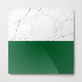 emerald green and white marble Metal Print