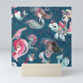 Christmas Mermaid Patterns 06 Mini Art Print