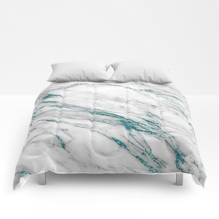 Gray Marble Aqua Teal Metallic Glitter Foil Style