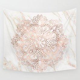 Rose Gold Mandala Marble Wall Tapestry