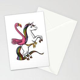 Flamingo Bird Riding Magical Unicorn Stationery Cards