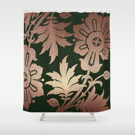 Black and Rose Gold  Floral Shower Curtain