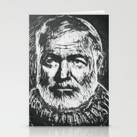 hemingway Stationery Cards featuring Ernest Hemingway portrait by Psychedelic Astronaut