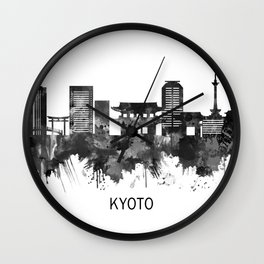 Kyoto Japan Skyline BW Wall Clock