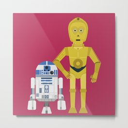 C3P0 and R2D2 vector Metal Print