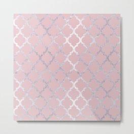 Moroccan Silver & Pink Metal Print