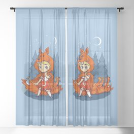 Red Hood Wolf Sheer Curtain