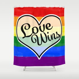 Pride Flag Love is Love-Water Color Graphic  Design  Shower Curtain