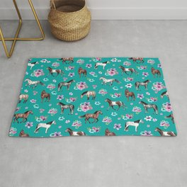 Horse Pattern, Floral Print, Turquoise, Little Girls Room, Horses Rug