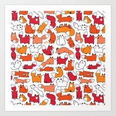 Foxy Foxes Doodle Art Print