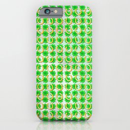 Lucky with gold horseshoes and four leaf clovers iPhone Case