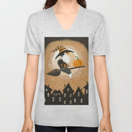 Little Calico Witch Cat Pumpkin Delivery Unisex V-Neck