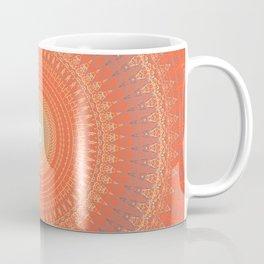 Bright Coral Mandala Design Coffee Mug