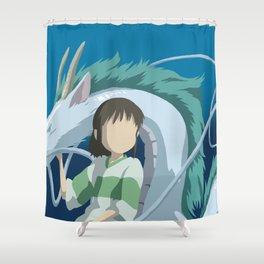 Minimalistic Spirited Away Chihiro and Haku Shower Curtain