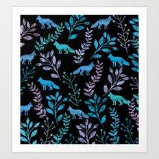 Watercolor Floral & Fox IV Art Print