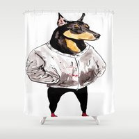 doberman Shower Curtains featuring Bad Dog by withapencilinhand