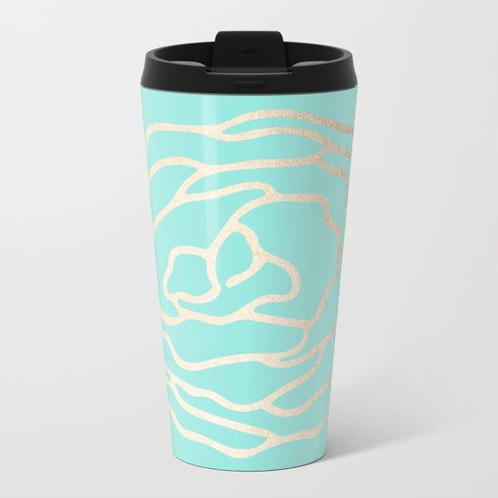 Flower in White Gold Sands on Tropical Sea Blue Metal Travel Mug