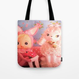 bunny and pink poodle Tote Bag