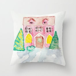 Chirstmas House Throw Pillow