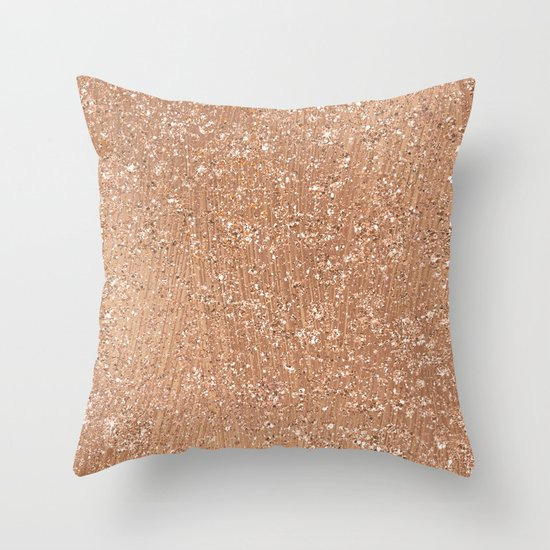 Rose Gold Decorative Pillow : Rose gold brushstrokes and glitter Throw Pillow by Peggie Prints Society6