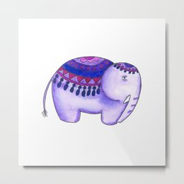 Purple and Blue elephants Metal Print