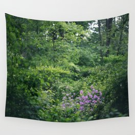 Purple Flowers Growing in the Forest Wall Tapestry