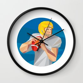 American Football Quarterback QB Low Polygon Wall Clock