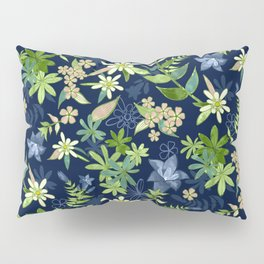 Alpine Flowers Blue - Gentian, Edelweiss Pillow Sham